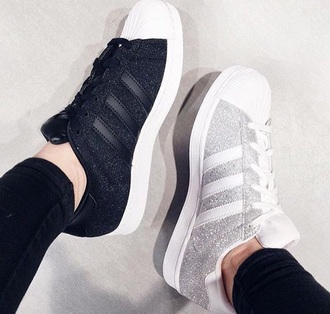 shoes black adidas adidas superstars adidas shoes adidas originals superstar silver grey white glitter sparkle cool fashion nike