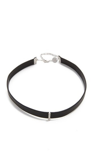 necklace choker necklace silver black jewels