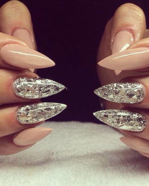 nail polish, sparkle, glitter, stiletto nails, sharp, long ...