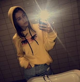sweater yellow hoodie streetwear eyes norwegian girl youtuber