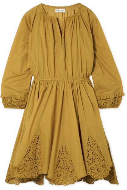 APIECE APART - Vereda Broderie Anglaise Cotton-voile Mini Dress - Mustard