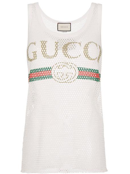 gucci top vest top women white cotton