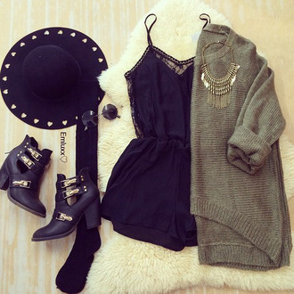 grey hat clothes style cool shoes bag sweater socks floppy hat panama hat fedora cardigan knit knitted cardigan knitted sweater romper earphones black romper green jacket summer fall outfits lace romper