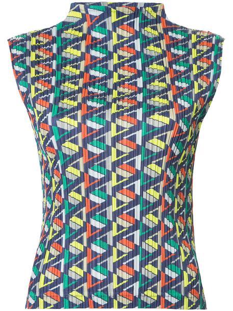 top sleeveless women geometric print