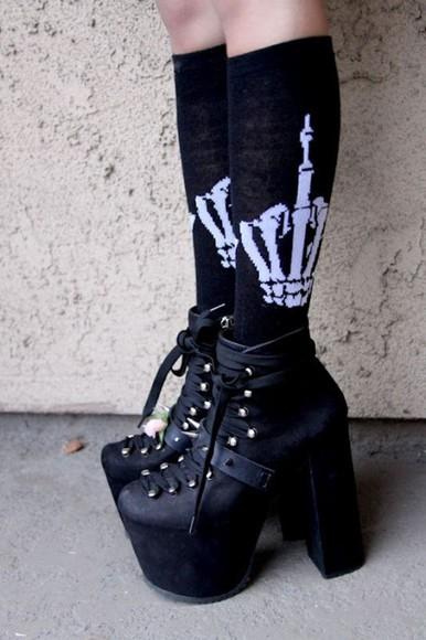 skull socks skeleton pastel goth