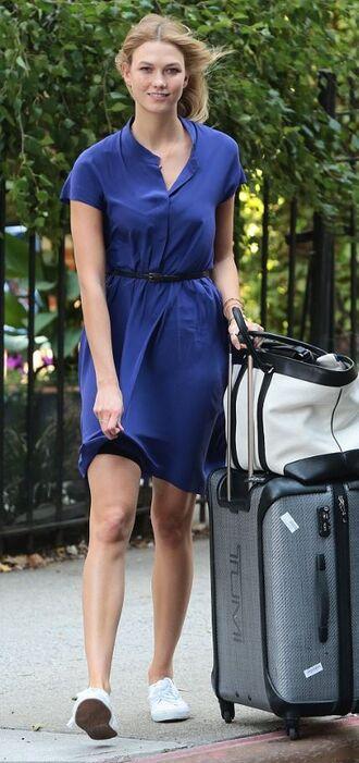 dress karlie kloss summer dress blue dress blue sneakers classy