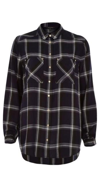 shirt black and white flannel shirt boyish