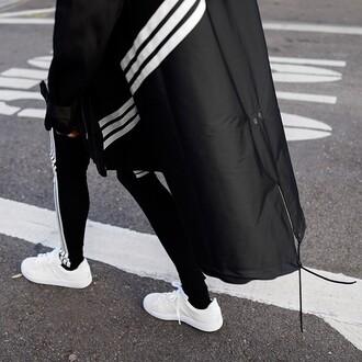 coat black coat adidas coat