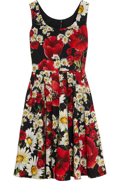 dress floral cotton print black red