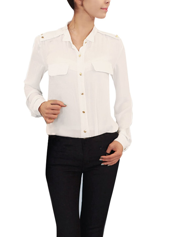 Allegra k women point collar button down dress shirts semi sheer casual shirts at amazon women's clothing store: blouses