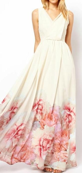 dress flowers long dress wedding dress beige dress