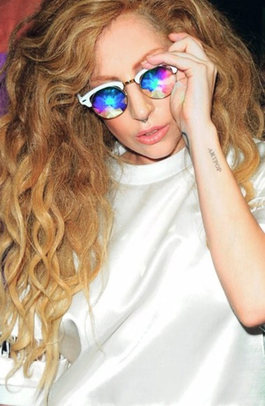 white unique sunglasses gaga glasses rainbow eyes ladygaga