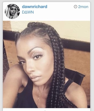 jewels braids instagram dawn richard make-up boho summer black dress