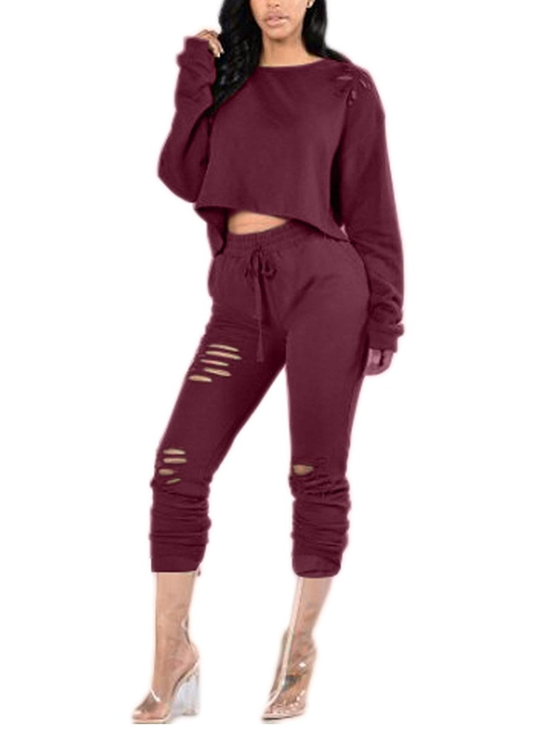 Doris Women's Savage Mode Crop Top and Pants Ripped Sweatshirt Set at Amazon Women's Clothing store: