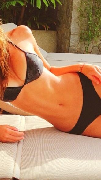 swimwear black tight leather triangle
