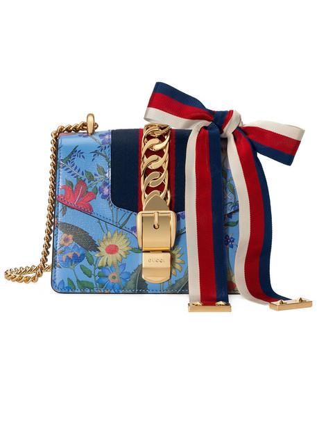 gucci mini metal women new bag chain bag leather blue