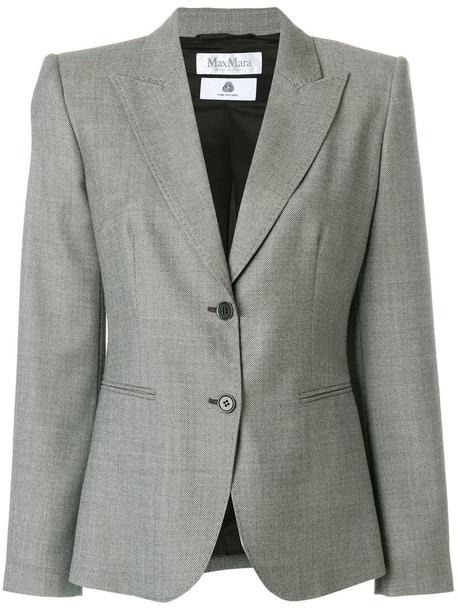 blazer women spandex wool brown jacket