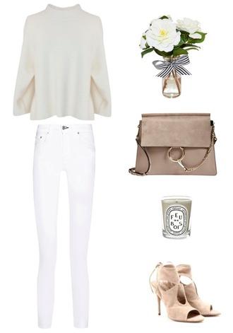 krystal schlegel blogger white jeans peep toe heels chloe chloe bag