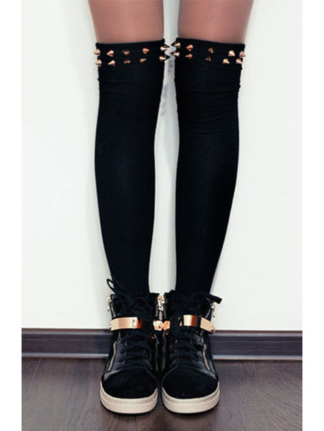 socks gold black thigh highs sneakers high top sneakers high top sneakers spikes studs shoes