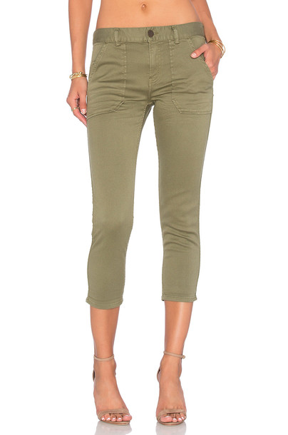 pants cropped boyfriend green