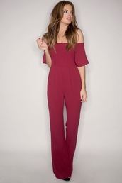 jumpsuit,white,burgundy,white jumpsuit,wide leg overalls