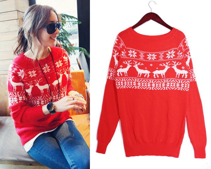 Women Lady Xmas Snow Deer Long Sleeve Sweater Knitwear Casual Tops Christmas R | eBay