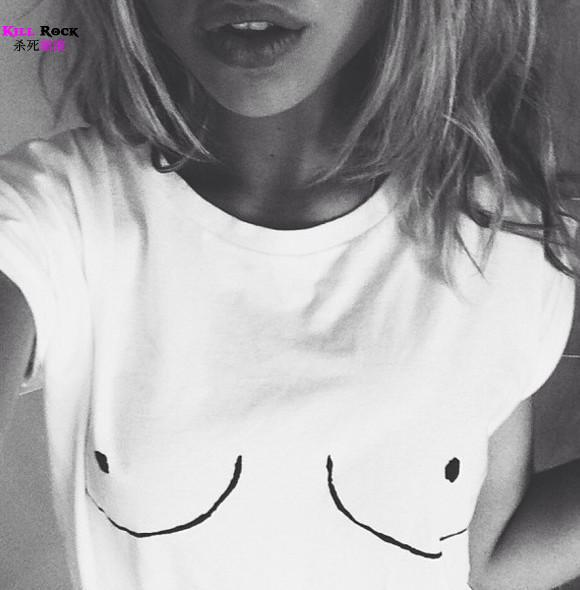 Creative Style Womens T shirt White Tit Tee Fashion Breast Printed T shirt Woman Emoji Tees Streetwear Harajuku Womens Tshirt -in T-Shirts from Apparel & Accessories on Aliexpress.com