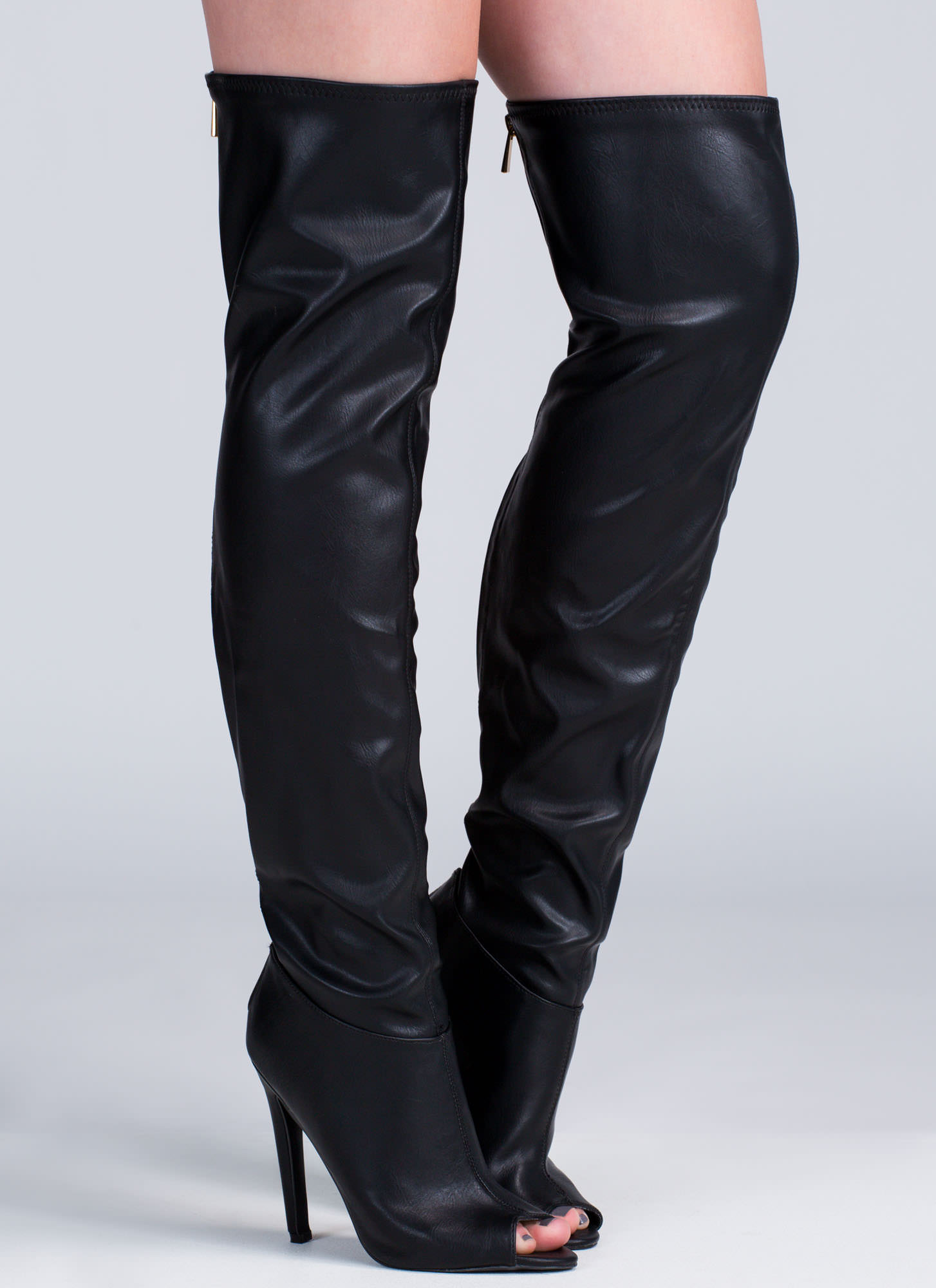 Leather Peep Toe Thigh High Boots - Boot Hto