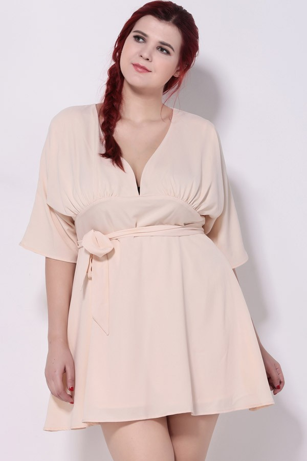 5da85df1721 Light Pink V Neck Casual Plus Size Dress