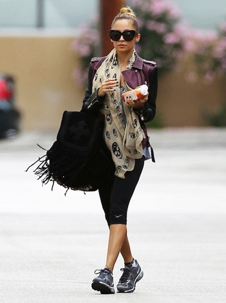 bag fringe backpack black backpack fringes accessory backpack suede backpack leggings cropped leggings black leggings workout leggings scarf jacket sunglasses black sunglasses sneakers grey sneakers nicole richie celebrity style celebrity