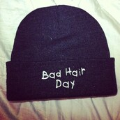 hat,beanie,badhairday,bad hair day hat,hipster,hippie,Accessory,black,bad hair day,hair,shirt,jewels,beani,had,bad day,blouse,baseball tee,t-shirt,jesus,bible,cute shirt,pink shirt,lovely,rad shirt,bad,day,black hat,hair accessory,bonnet,muts
