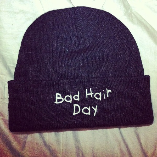 hat beanie badhairday bad hair day hat hipster hippie Accessory black bad hair day hair shirt jewels beani had bad day blouse baseball tee t-shirt jesus bible cute shirt pink shirt lovely rad shirt bad day black hat hair accessory bonnet muts