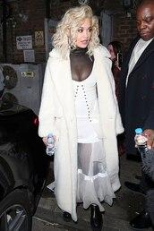dress,white,white dress,coat,rita ora,celebrity