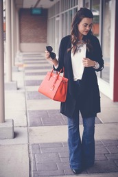 live more beautifully,blogger,jacket,top,jewels,jeans,bag,sunglasses,shoes,handbag,red bag,flare jeans,cardigan