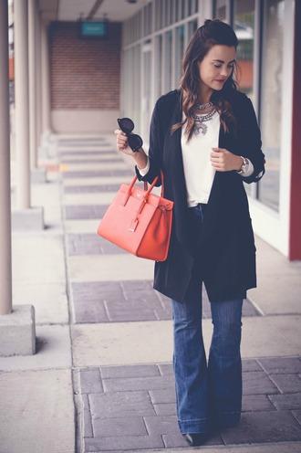 live more beautifully blogger jacket top jewels jeans bag sunglasses shoes handbag red bag flare jeans cardigan