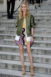 skirt,jacket,bomber jacket,olivia palermo,top,fashion week 2016,pumps,blogger,green bomber jacket,shoes