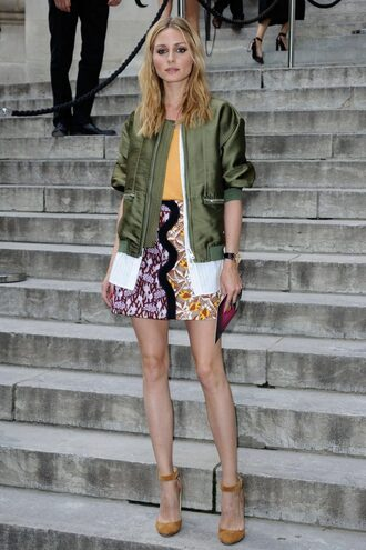 skirt jacket bomber jacket olivia palermo top fashion week 2016 pumps blogger green bomber jacket shoes