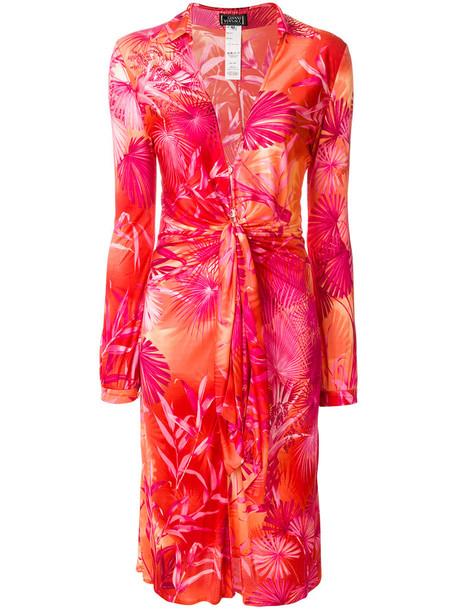 dress print dress tropical women low cut print silk red