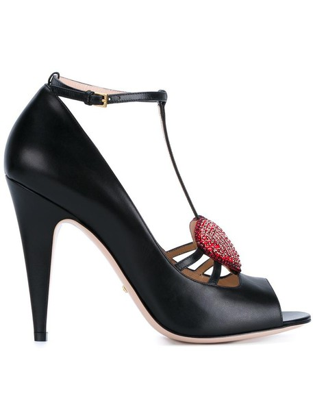 gucci heart women pumps leather black shoes