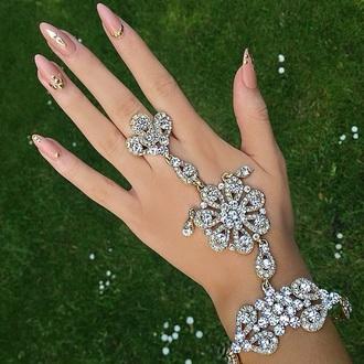 jewels silver nails pink hand nail bracelets ring bracelet ring bracelet chains
