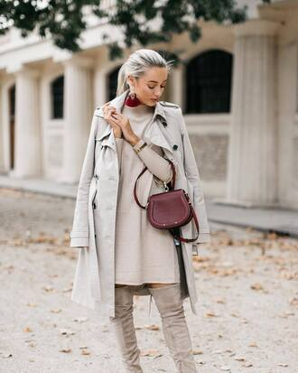 coat tumblr trench coat grey coat sweater sweater dress knit knitted dress all grey everything bag boots grey boots earrings fall outfits