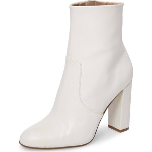 Women's Fashion White Chunky heel Boots Classical Zip Ankle Boots