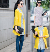 coat,yellow,cardigan,oversized cardigan,blazer,vintage,stripes,shirt,jeans,skinny jeans,office outfits,elegant,clothes,mixmoss.com