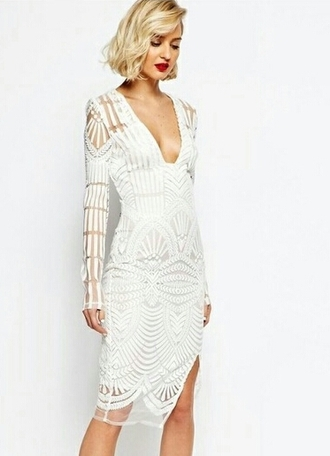 dress white dress white lace patterned dress bodycon dress sheer