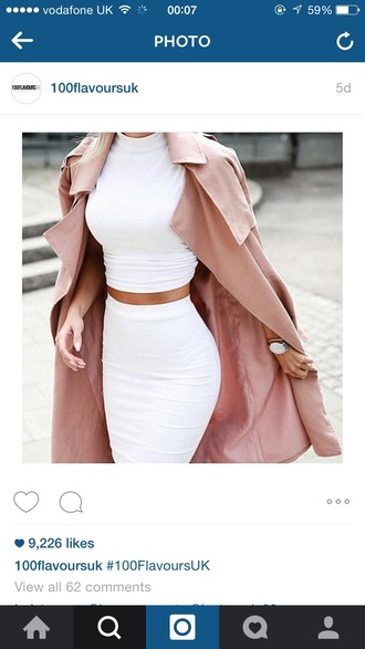 coat pink baby pink tumblr white white crop tops white skirt turtleneck tumblr outfit outfit dress
