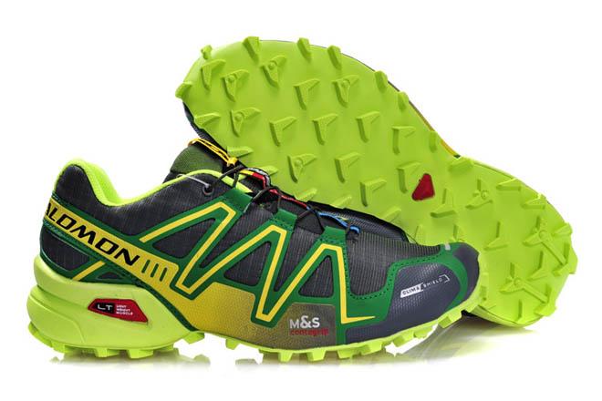 Men's Trail Running Shoes -Salomon Speedcross 3 green grey