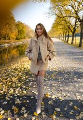 kenza,blogger,jacket,skirt,shoes,bag,sweater,boots,over the knee,fall outfits