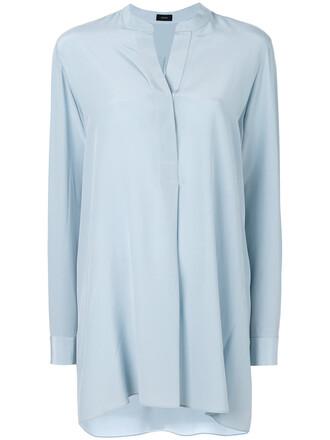 shirt loose women fit blue silk top