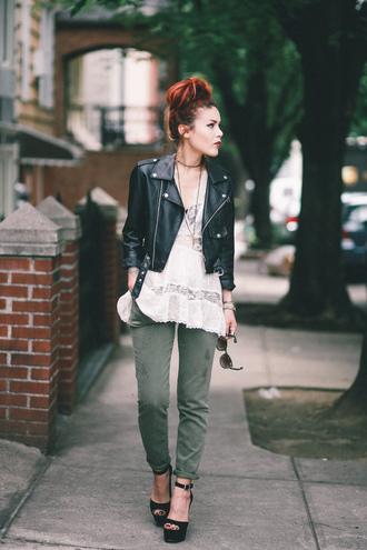 le happy blogger tank top pants jacket shoes sunglasses
