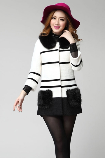 Color Block Wool Coat with Fur Collar [FEBK0415]- US$69.99 - PersunMall.com